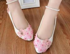 Zapatos de salón mujer bailarina blanco rosa novia 3.5, 4.5 8. cm 9334