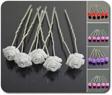 Haarnadeln X5 X10 Rose  Metall Strass Acyl Paillette Braut Kristall Hochzeit