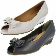 Señoras van dal Peep Toe Tacón De Cuña Zapatos Tribunal De Cuero-Hudson