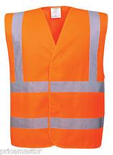 Warnweste Orange 2+2 Reflextreifen EN ISO 20471 Class 2  in 4 größen