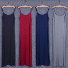 Women Modal A Line Long Slip Dress Sleeveless Loose Casual Beach Tank Undershirt