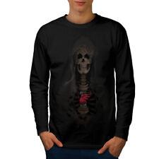 Rock SKULL HEART Skeleton Uomini Manica Lunga T-shirt Nuove   wellcoda
