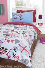 PUNK ROCKER LOVE UK UNION JACK FLAG HEARTS RED BLUE BLACK BEDDING OR CURTAINS
