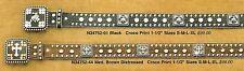 Crystal WESTERN BELT Rhinstone Crocodile Leather/Square Conchos Cross Horse lb81
