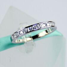 925 Sterling Silver Princess Cut Diamond Channel Setting Women Wedding Band