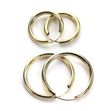 9ct Gold Plain 15 20 25 mm Hoops Sleepers Earrings 2mm Tube