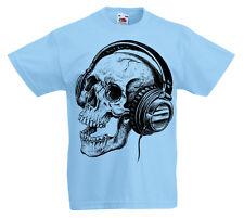 Calavera Auriculares Camiseta Niños 3 -13 Años Música Infantil Regalo Rock Z1