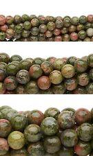Lot of 50 Round Pink & Green Unakite Natural Gemstone Beads Small - Big Sizes