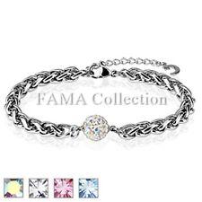 FAMA Ferido Multi Crystal Paved Ball Stainless Steel Chain Bracelet