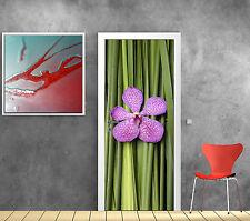 Sticker pour porte déco Bambous Orchidée réf 730