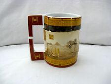 Egyptian Pharaoh Porcelain Mug Pyramid Cat Brown Sand Gold # 4017 Unique