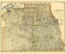Old County Map - Tulare California Landowner - Britton 1901 - 28.13 x 23