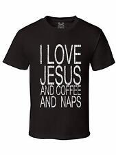 NW MEN'S PRINTED I LOVE JESUS AND COFFEE LOVE CHRISTIAN GOD BIBLE TEE T-SHIRT