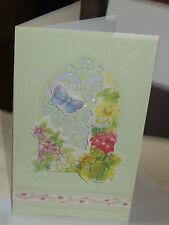 Handmade Green Arch Window Flower & Butterfly Glitter card with blank insert