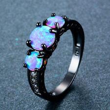 Women Ladies Round Rainbow Opal Rhinestone Ring Wedding Band Jewelry Gift HZ