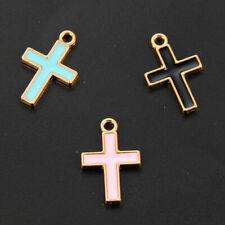 10Pcs Women Catholic Crucifix Cross Enamel Pendant DIY Necklace Jewelry Making