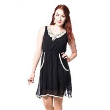 Estilo de vida inocente Beth Encaje & Jersey Vestido Damas Negro Lindo Mujer Vintage Nuevo