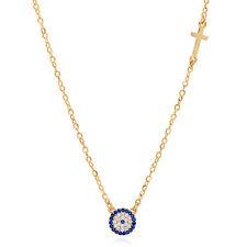Evil Eye Necklace Greek Eye Luck Charm CZ Crystal Hamsa Turkish Nazar Eye Jewel