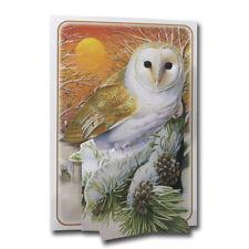 Noël Owl-Pictoria Press 3D Pop Up Carte de Vœux-Robins-Oiseaux-Couronne