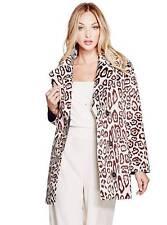 GUESS $168 Sally Faux Fur Coat Jacket Leopard print Brown Beige S, M, L