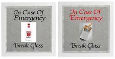 Vinyl Sticker for DIY Box Frame IN CASE OF EMERGENCY BREAK GLASS  HUMOUR/NOVELTY