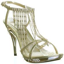Premium Womens Wedding Sandals Party Evening Prom Bridal Diamond Stiletto Uk Siz