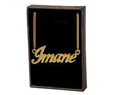 Collar de nombre Imane – 18 K oro plateado   el día de madre Regalo Único Cadenilla