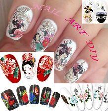 Nail Art Water Transfer Stickers-Stile Orientale-Geisha Giapponese-Drago Cinese!