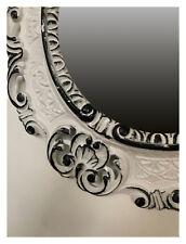 Espejo de Pared Blanco Negro Ovalado 45x38 Barroco Antiguo Repro Vintage Retro