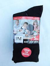 BNWT Boys or Girls Pack of 5 Black Crew Style School Socks Sz 9-12