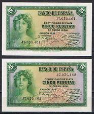 PAREJA BILLETES 5 PESETAS 1935 REPÚBLICA Serie J  Pick#85  S/C  UNC