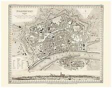 Alte Frankfurt am Main Illustriert Stadtplan Landkarte Meyer ca. 1844 - 1860