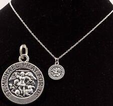 "De 16"" a 24"" Plata Plateado para Hombre St Saint Michael Colgante Collar de Cadena para Mujer Nuevos"
