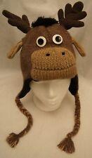 deLux MOOSE HAT knit bullwinkle ANIMAL ski cap thidwick ADULT men women costume