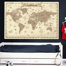 MAPPA Del Mondo Adesivi Da Parete Bambini Vivaio Bambini pirata mappa del tesoro Decalcomania Murali