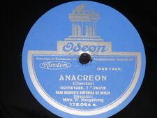 ORCHESTRA 78 rpm RECORD Odeon SINFONICA DE BERLIN Mengelberg ANACREON Cherubini