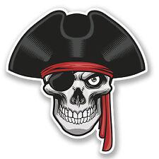 2 X Jolly Roger Calavera Etiqueta Auto Moto Ipad Laptop Pirata Marinero Kids Diversión # 4255