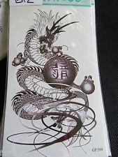 SHEET MENS BOYS ARTY CHINESE DRAGON WORDS TEMPORARY TATTOOS 20cmx10cm UK SELLER