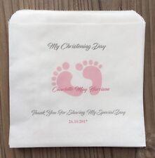 Personalised Boys & Girls Footprint Christening Sweet & Cake Bags