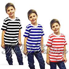 Enfants Garçons Filles T-Shirt Rayé été Ecole Day Vacances T-Shirts Déguisement