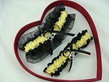 New Sexy Canary Yellow Black Wedding Garter Heart Prom