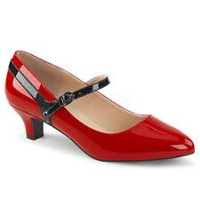 Pleaser FAB-425 Womens Ladies Red-Black Patent Kitten Heel Mary Jane Pump Shoes
