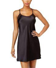 Linea Donatella Black Satin Lace Trim Chemise Sleepwear Small,Medium