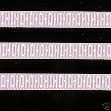 "5 yards 3/8"" Light Pink Swiss Polka Dot Grosgrain Ribbon"