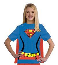 Kids Supergirl T-Shirt & Cape Costume Kit Superwoman Superman Youth Child Girls