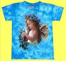 T-Shirt Blumen Elfe Engel, blau Gr.146*152, 10-12 J., Waldorf Fee, Girl Fantasy