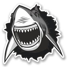 2 x grand requin blanc autocollants en vinyle iPad Ordinateur Portable Casque Voiture Moto Surf # 5253 / sv