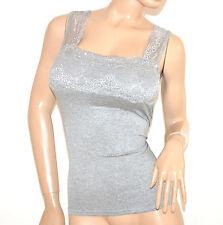 CANOTTA GRIGIO top donna strass pizzo maglietta cotone elasticizzata elegante A4