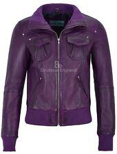 Ladies  Leather Jacket Purple Bomber Motorcycle Style REAL LEATHER JACKET 3758