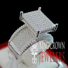 LADIES WOMEN REAL SILVER WHITE GOLD FINISH ENGAGEMENT WEDDING BRIDAL RING BAND